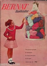 Bernat Children Boy Girl Sweaters Knitting Patterns Bolero Weskit Age 4-12 1956
