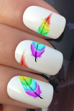 NAIL ART SET #627 x24 RAINBOW FEATHER CHUNKS WATER TRANSFER DECALS STICKERS