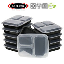 PK 10 Meal prep 3 Compartment Food Containers GYM-PAK ( Strongest containers )