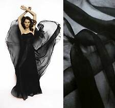 1 Yard of 100% pure silk chiffon sheer fabric dressmaking material Black
