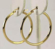 """10k Yellow Gold Polished Hoop Earrings 1.25"""""""