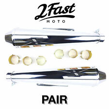 2FastMoto Reverse Cone Shorty Megaphone Exhaust Pair Cafe Racer Chopper Triumph