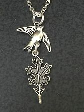 "Bird Sparrow Carrying Oak Leaf Charm Tibetan Silver 18"" Necklace"