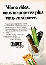 PUBLICITE ADVERTISING 105  1970  CRICKET  automatic briquet jetable