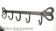 HANDMADE 5 HOOK WROUGHT IRON RACK Coat Mugs Kitchen Utensils Holder Towel Hanger