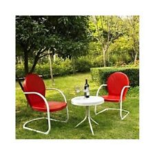 3 PC Chairs/Table Set Metal Retro 50s Style Outdoor Lawn Porch Patio Furniture