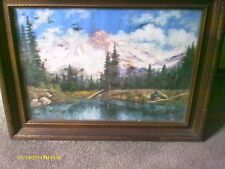 FANTASTIC ANTIQUE FRAMED PASTEL BY FREDERICK SMITH -1933 - MT RANIER