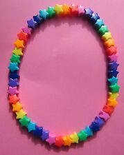 Kitsch Opaque Rainbow Plastic Star Bead Elastic 16 inch Necklace Retro Emo Goth