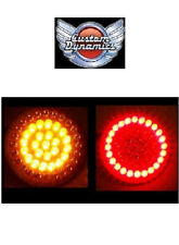 "Harley AMBER / RED 2"" BULLET Style LED Turn Signal Inserts GEN-200-AR2-1156 new!"