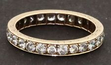 Antique 14K gold 1.62CT VS1/H diamond eternity band ring w/ fancy carved sides