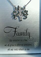 Sterling Silver Family Tree Necklace blue stones