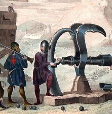 Gravure Couleur XIXe Machine de Guerre Canon XVe Siècle Angleterre England