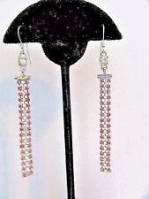 LONG FANCY PIERCED EARRINGS AB RHINESTONE PINKS VINTAGE 1980'S DISCO FANCY PROM
