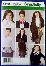 Simplicity Fashion Accessories Sewing Pattern Fur Stole Peplum Belt Dickie 1498