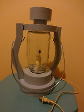 Hand made wood Electric Railroad Lamp, W/Mason Jar lantern