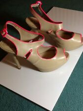 new look size 9 heel 5 inch nude and neon pink trim