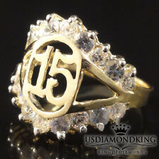 LADIES GIRLS 10K REAL 100% YELLOW GOLD 15 BIRTHDAY QUINCEANERA RING BAND SIZE 8