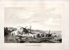 Stampa antica GENOVA spiaggia di Pegli con figure e barche 1880 Old print