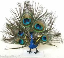 NEW BEAUTIFUL 100% NATURAL FEATHERS GREEN+BLUE MULTI-COLOR PEACOCK FIGURINE