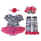 US Newborn Infant Baby Girl`s Headband +Romper +Leg Warmer +Shoes Outfit S Size