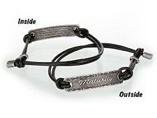 "Religous Black Coated Leather Bracelet ""Maturity"" Verse 1 Cor 13:11 On Inside"