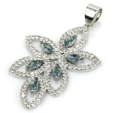Hi End London Blue Topaz Gemstone Pendant & AAA CZ Weimaraner Rescue Charity