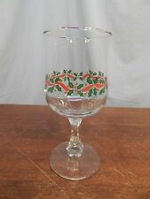 Christmas Holly Ribbon and Berry Wine/ Water Goblet(s) With Gold Trim  6 3/4""