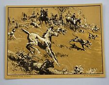 Vintage 1970's R.H. Palenske Joining The Chase Gold Foil Etch Print