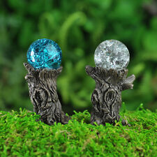 Miniature Fairy Garden Stump Gazing Balls w  pick set 2 Faerie Gnome GO 17279