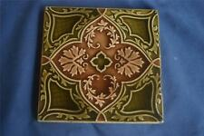 Antique English Tile 1896  Majolica Floral