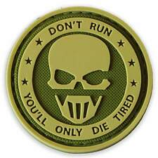 NEW 3D PVC Don't Run Velcro Military Army Tactical Morale Patch Green