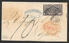 Vatican covers 1858 5Baj PAIR folded letter Roma to Napoli