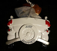 Personalized Vintage Just Married Wedding Christmas Tree Ornament Holiday Gift