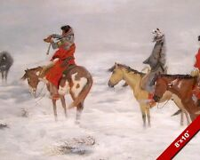 NATIVE AMERICAN INDIANS IN SNOW STORM OIL PAINTING ART REAL CANVAS GICLEEPRINT