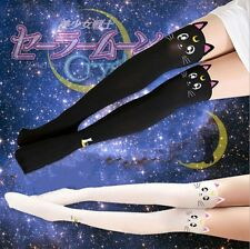 SAILOR MOON WHITE THIGH HIGH TIGHTS COSPLAY CAT PANTYHOUSE M/L #sjan17-113