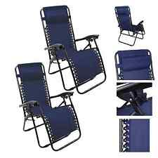 Lounge Chair Recliner Sun Patio Pool Beach Outdoor Folding Chair-1Pair Navy Blue