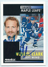 Wendel Clark signed 1991-92 Pinnacle hockey Toronto Maple Leafs autograph