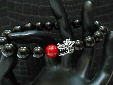Fire Dragon Red Fire Bead Black Onyx Bracelet Baby Chrome King Jewelry
