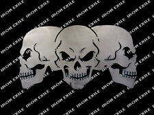 Skull Trio Three Skulls Metal Sign Garage Mancave Wall Art Biker IRON EXILE