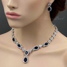 18K White Gold GP Sapphire Zirconia CZ Necklace Earrings Wedding Jewelry Set 540
