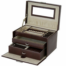 TS382BWN- Jewelry Box Genuine Leather Brown With Travel Case