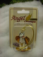 BLUE EYES SIBERIAN HUSKY dog ANGEL ORNAMENT Figurine Statue NEW Christmas puppy