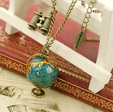 Cool2day Vintage World Style Mini Globe & Telescope Chain Pendant Necklace Gift