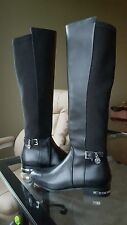 Michael Kors Aileen Black Leather Boots Silver MK Charm Size 6.5 NEW