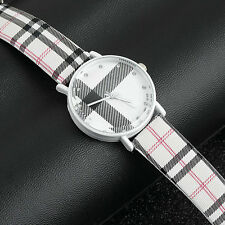 Fashion Plaid Leatheroid Watch Women Men's Sport Casual Quartz Wristwatch MC