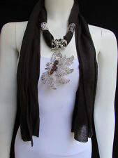 WOMEN BROWN SOFT FABRIC FASHION SCARF LONG NECKLACE BIG SILVER BUTTERFLY PENDANT