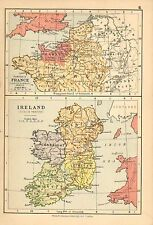 c1898 VICTORIAN MAP ~ NORTH FRANCE SAXON-ROMAN PERIOD NORMANDY ~ IRELAND TUDOR