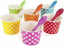 Rainbow Paper Polka Dot Ice Cream Cups 12 oz (qty 60) & Matching Plastic Spoo...