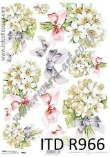 Rice paper for Decoupage/A4 size/ITD/Flowers spring R966