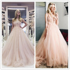 Blush Floral Lace Appliques Wedding Dress A-Line Tulle Deep V-Neck Bridal Gown
